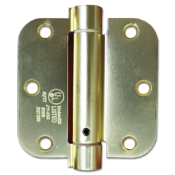 "Picture of 3-1/2"" SPRING DOOR HINGE 5/8"" RADIUS, EACH - POLISHED BRASS"