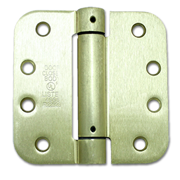 "Picture of 4"" SPRING DOOR HINGE - PAIR - 5/8"" RADIUS CORNER - POLISHED BRASS"