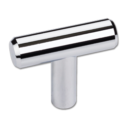 """2"""" """"T"""" CABINET PULL WITH BEVELED ENDS- POLISHED CHROME 5/PK"""