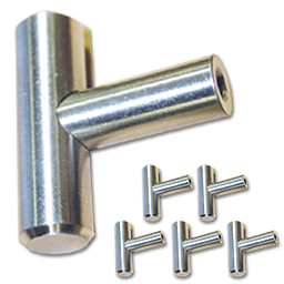 """2"""" """"T"""" CABINET PULL WITH BEVELED ENDS- SATIN NICKEL - 5/PK"""