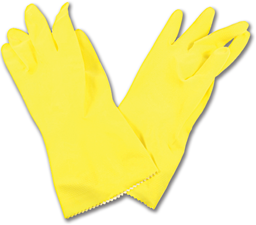 Picture of YELLOW LATEX GLOVES FLOCK-LINED - LARGE