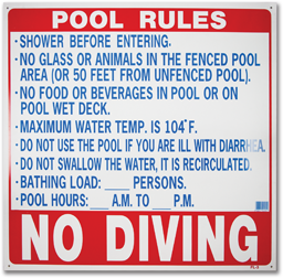 "Picture of POOL RULES SIGN 24"" X 24"" FL"