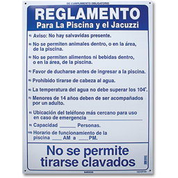 Picture of POOL RULES SIGN - SPANISH