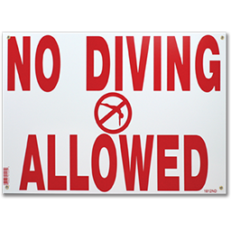 "Picture of NO DIVING SIGN - RED & WHITE - 12"" X 18"""
