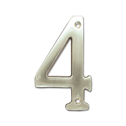 "Picture of HOUSE NUMBER 4"" BRASS - # 4"