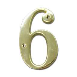 "Picture of HOUSE NUMBER 4"" BRASS - # 6"