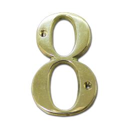 "Picture of HOUSE NUMBER 4"" BRASS - # 8"