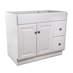 "Picture of 36""W X 21""D DELUXE WHITE VANITY BASE - TWO DOOR/TWO DRAWER"
