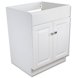 "Picture of 24""W X 21""D DELUXE WHITE VANITY BASE - TWO DOOR"