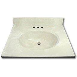 "Picture of 25"" X 22"" CULTURED MARBLE VANITY TOP - WHITE"