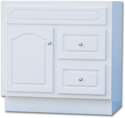 "Picture of 30""W X 21""D CASCADE DELUXE WHITE VANITY BASE - SINGLE DOOR/DOUBLE DRAWER"