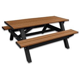 Picture of DSO- DOGIPARK 6' PICNIC TABLE - BLACK/CEDAR