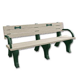 Picture of DSO- DOGIPARK 6' BACKED POLY BENCH WITH BONES - GREEN/SAND